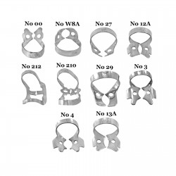 Set of 10 Winged Rubber Dam Retention Clamps Orthodontist Oral Procedure Clamps