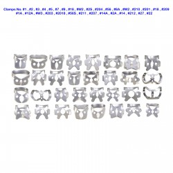 32 Piece Set of Orthodontic Rubber Dam Winged Clamps Dental Enodontic Retention  Clamps