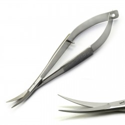 Microsurgical Spring Scissors Castroviejo 11.5cm Curved Dentist Suture OP